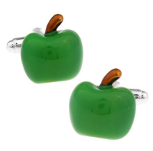 Factory Price Retail Men Gifts Cuff links Fashion Copper Material Green Apple Design CuffLinks Free Shipping