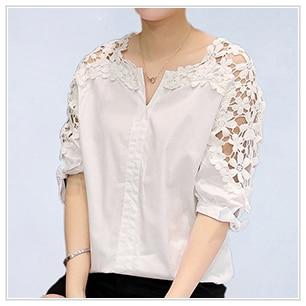 HTB1iAU5SpXXXXbEXpXXq6xXFXXXj - Fashion Woman Lace Shirt Hollow Out Casual Short Sleeve