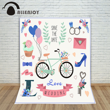 Allenjoy valentines photography backdrops Bicycle balloons cupcakes wedding colorful custom information photography background