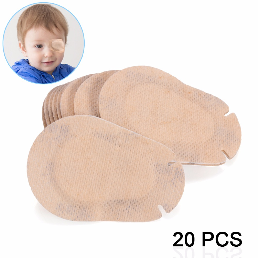 Orthoptic Eye Patches For Children With Amblyopia Posted Monocular Full Cover Training Amblyopia Correction Beige 20Pcspack