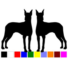 HotMeiNi Car Sticker 13cm 2 Doberman dog breed RIGHT LEFT car window door animal silhouette vinyl decoration decals stickers(China)