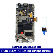 100% Working Well Super AMOLED LCD For Samsung Galaxy S4 Mini I9190 i9192 i9195 Touch Screen Digitizer with Frame Replacement