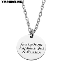 XIAOJINGLING Fashion Necklaces & Pendants Everything Happens For A Reason Charm Long Necklace For Women New Trendy Sweater Chain(China)