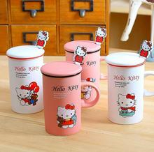 Cute Hello Kitty Ceramic Mugs with Spoon Water Container Cups Set Mugs Porcelain Tea Cup Coffee Mug