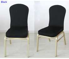 Black colour spandex half chair covers for wedding chair decoration lycra stretch party chair cover for sale events show(China)