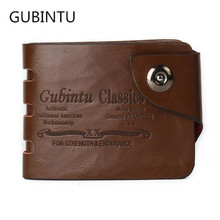 2016 GUBINTU New Retro Vintage Fashion Men Mini PU Leather Wallet Bifold Clutch Credit Card Photo Letter Coin Purse Bags Nov22