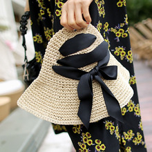 New Women Bow Straw Hat Foldable Unique Wide Brim Fashion Vocation Summer Beach Sun Hat with Black Ribbons(China)