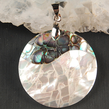 Free shipping  Fashion Jewelry New Zealand Ablone Mother of pearl Shell Round  Pendant Bead MC3594