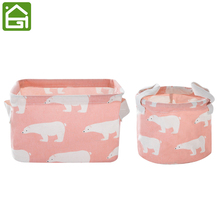 2 Piece Foldable Small Cotton Grocery Storage Bag Desktop Drawer Clothes Snacks Organizer Basket with Handles(China)