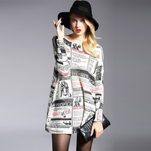Plus Size 2016 Women's Long Knitting Sweaters Fashion Slash Neck Batwing Sleeves Newspaper Printing Wool Pullovers Femme