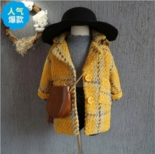 2018 Fall Winter Girls Fashion Casual 겨울 Jacket 외투 공주 Plaid 울 Coat Children's Plaid 농축 겉 옷 A288(China)