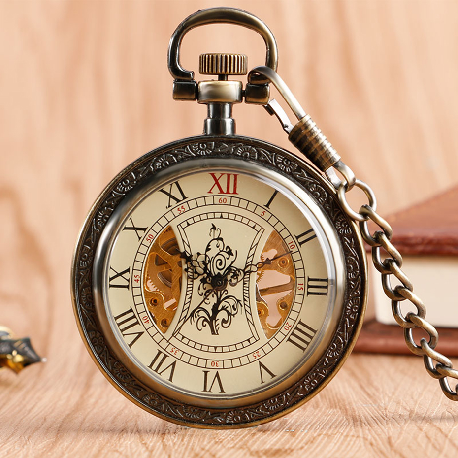 Bronze Mechanical Pocket Watch Open Face Tree Pattern Roman Numbers Clock Hand Winding Fob Watches Men Gift  (6)