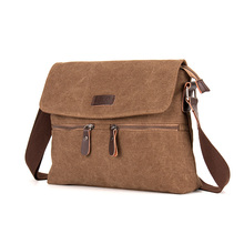 Vintage High quality Pure cotton Canvas men messenger bags Casual high grade zipper shoulder bags Big A4 men bags