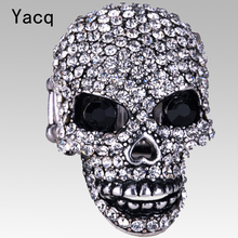 YACQ Skull Stretch Ring Women Girls Biker Bling Gothic Jewelry Gifts for Her Wife Mom Girlfriend Gold Silver Color Dropshipping(China)