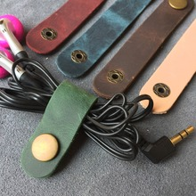 Cable Holder Organizer Bobbin Winder Genuine Leather Earphones Cable Management Wrapped Cord Line Wrap Wire wirding thread tool(China)