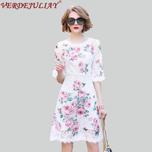 Princess Dresses 2018 Summer Women Fashion Lace Embroidery Half Sleeve Female White Mini Top Grade Hollow Out Topshop Dress(China)