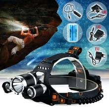 6000 Lumens Led lighting Head Lamp T6+2R5 LED Headlamp Headlight Camping Fishing Light+2*18650 battery+Car EU/US/AU/UK charger
