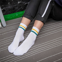 2016 Women Girl Casual Cotton Fashion Brief Striped High Hosiery Socks(China)