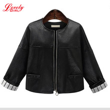 Plus Size Women Clothing 5XL 2017 Winter Black Leather Bomber Jacket For Woman Long Sleeve Euro Style Short Jackets And Coats