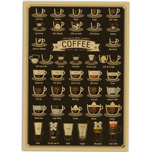 Vintage bar cafe Decoration different coffee cups Kraft Paper Poster Retro shop Wall Sticker Old Painting 40x30cm ZJP-M025