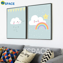 7-Space Nordic Poster Cartoon Cute Clouds Rainbow Canvas Painting Kids Room Wall Art Canvas Print Pictures Home Decor No Frame(China)