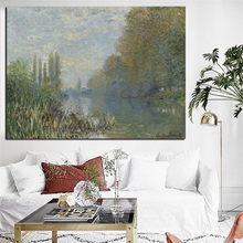 HD Print Claude Monet Banks of the Landscape in autumn Impressionist Oil Painting on Canvas Poster Wall Picture for Living Room(China)
