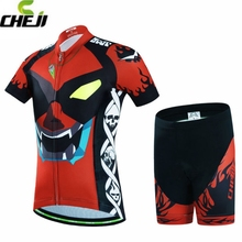 2017 CHEJI Pro Team Kids Racing Cycling Bike Short Sleeve Clothing Children Set Bicycle Jersey Ropa Ciclismo Pad Shorts S-XXL