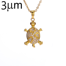 3UM Sea Turtle Necklace AAA Cubic Zircon Micro Paved Cute Animal Tortoise Necklace Brass Sea Life Pet Charm Necklace Jewelry
