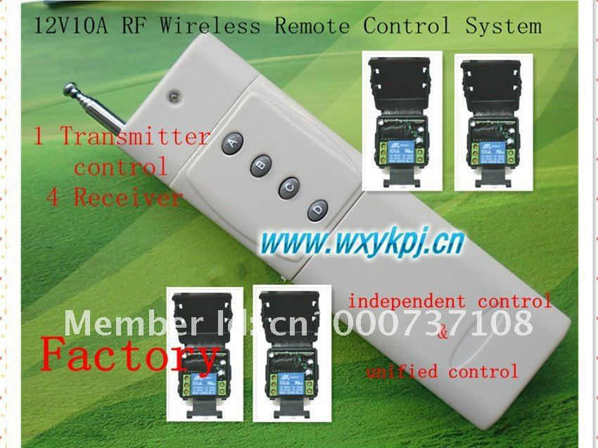 Free Shipping DC 12V 10A 1CH 3000M 1 Transmitter &amp; 4 Receiver Radio Frequency Wireless Remote Control System<br><br>Aliexpress