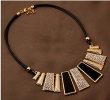 New Arrival Fashion Jewelry Trendy Women Necklaces & Pendants Rope Chain Statement Necklace rectangle Pendant For Gift 465