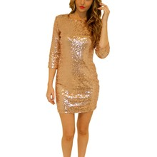 Summer Style Dress Women Sequins Long Sleeve Paillette Sequins Backless Bodycon Slim Pencil Party Dresses(China)