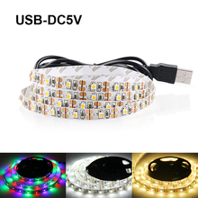 USB LED Strip Light DC5V SMD3528 RGB LED Strip Flexible LED Lights 3keys Mini Remote 50CM 1M 2M 3M 4M 5M TV Background Lighting(China)
