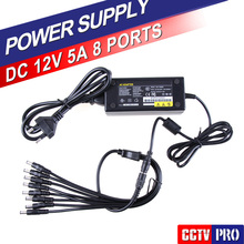 12V 5A 8CH Power Supply Adapter Work For CCTV Suveillance Camera System DC 12V Power Supply 8 Port DC + Pigtail COAT