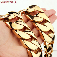 Granny Chic 9 inch-36 inch 31mm Hip Hop Jewelry Men Huge Bling Gold Color Stainless Steel Heavy Wide Curb Cuban Necklace Bracelet - steeljewelry's store