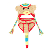 Cartoon Boys Girls Hat Handmade Knitted Children's Animal Beanies Baby Crochet Monkey Cap And Pant Suit YH-17