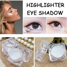 2017 Makeup Fashion 2 in 1 Glitter Powder Face Highlighters Waterproof White Shimmer Powder Eyeshadow Palette Cheap Makeup(China)