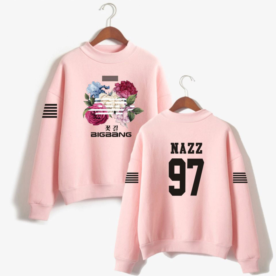 LUCKYFRIDAYF K-pop Korea Flower Road Bigbang Hoodie Sweatshirt Women Fashion Bigbang Fans Turtleneck Capless Sweatshirt Clothes