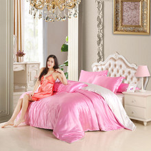 pure satin silk bedding set,Home Textile King size bed   set,bedclothes,sheet  , quilt   ,pillowcases