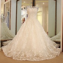 Buy LS32789 Halloween wedding gown Train Backless Ball Gown Tulle Beaded Puffy Lace Wedding Dresses Ivory Pink Blue Real Image for $228.47 in AliExpress store
