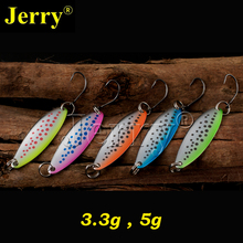 Jerry 5pcs 3.3g 5g fishing spoon salmon trout free tackle box metal lures spots winter fishing bait