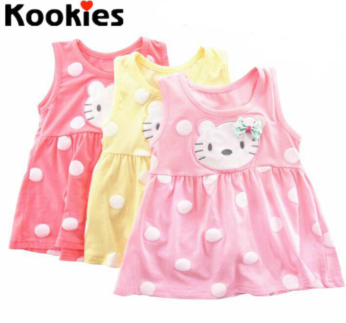 2017 Summer 0-2Years New Born Baby Girls Polka Dots Kitty Cat Cartoon Dress Sleeveless Summer Dress for Infants Kitty Dress(China (Mainland))