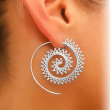 2017 Trendy personality round spiral earrings exaggerated whirlpool gear earrings for Women T5063(China)