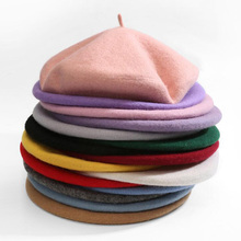 High Quality 100% Pure Wool Women Elegant Beret Winter Warm Female British Style Lady Painter Bonnet Hats Solid Color Wholesale(China)