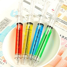 Syringe Injection Shape Ballpen 4Pcs/Set Doctor Nurse Gift Liquid Pen Ballpoint(China)