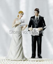 Free Shipping Read My Sign  Bride and Groom Figurines Wedding Resin Cake Topper