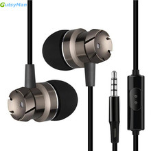 GutsyMan GM10 3.5mm Jack gear Metal Earphone Bass Headset For XiaoMI M2 M5 Samsung iPhone 5 6 7 MP3 MP4 With MIC(China)