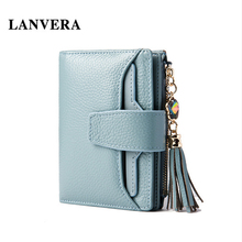 Fashion Crystal Pendant Tassel Women Purse Genuine Leather Short Wallet Card Holder Coin Packet Ladies' Wallet monedero mujer