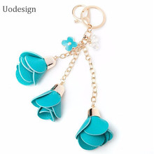 2016 Camellia PU Leather Tassels Keychain Bag Pendant Car Ornaments Creative Gifts Long Key Chain Buckle Key Ring Gifts