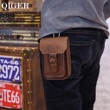 QIGER  5.5 inch Crazy Horse Leather Mens Waist Bag Pouch Belt Hook Loop Bags Cigarette Key Case Money Bag