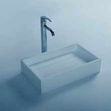 Rectangular Solid Surface Stone Wall Mounted Wash Sink Cloakroom Stone Wall Hung Wash Basin RS3866(China)